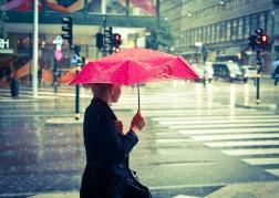 Under the red umbrella